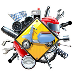 motorcycle spares with scooter vector image vector image