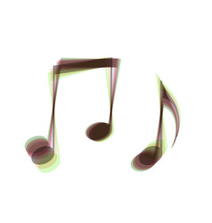Music notes sign colorful icon shaked vector