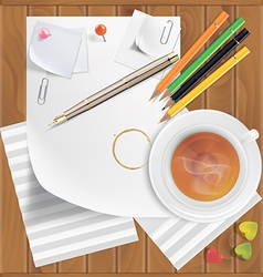Pencils pushpins paper clips paper sheets tea vector
