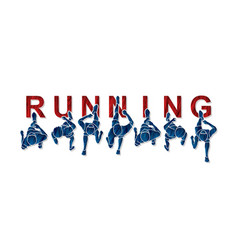 people running top view with text vector image