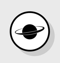 Planet in space sign flat black icon in vector