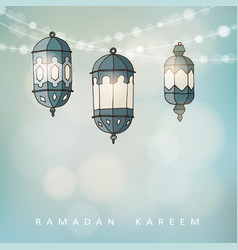 ramadan lluminated arabic lanterns with a string vector image vector image