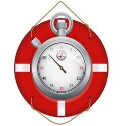 Red life preserver with stopwatch vector image