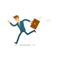 Running businessman hurrying to work vector
