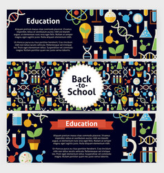 School science and education template banners set vector