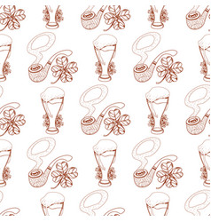 Seamless pattern with a pipe and a glass of foamy vector