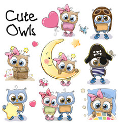 set of cute cartoon owls vector image vector image