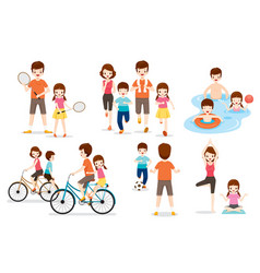 Set of family with various exercise and sports vector