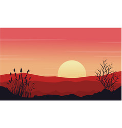silhouette of desert at morning landscape vector image vector image