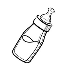 Sketch baby bottle vector