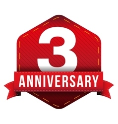 Three year anniversary badge with red ribbon vector