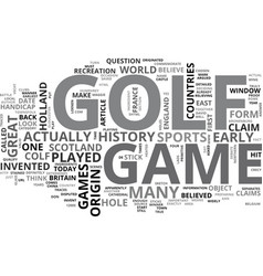 Who invented the game of golf text word cloud vector