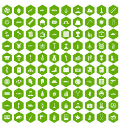 100 war crimes icons hexagon green vector