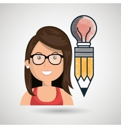 Woman young idea icon vector