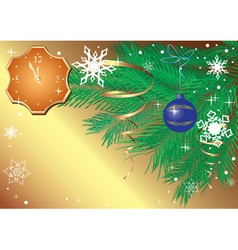 Gold christmas card with clock vector