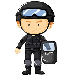 Swat in black safety suit vector