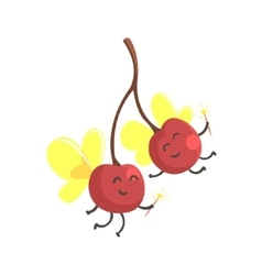 Pair of cherries with wings in fairy costumes vector