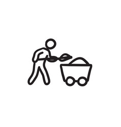 Mining worker with trolley sketch icon vector