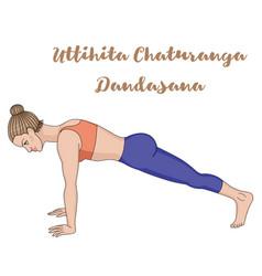 Women silhouette high plank yoga pose uttihita vector