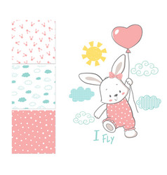 little bunny is flying in a balloon surface vector image