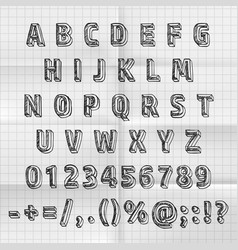 sketch font set on paper abc sign vector image