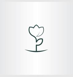 Simple flower plant line icon logo vector