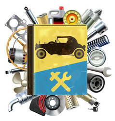 Old automobile repair book with car spares vector