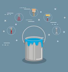 Open paint bucket color renovation decoration vector
