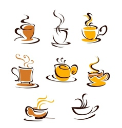 Cups of hot coffee vector