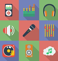 Set of icons of music theme modern flat style with vector