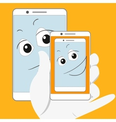 Smiling smartphone taking self-snapshot vector