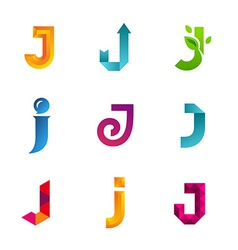 Set of letter j logo icons design template vector