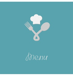 Fork spoon node and chef hat menu card flat design vector