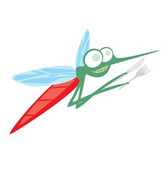 Funny cartoon mosquito with fork and knife vector