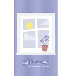 Window with flower interior vector