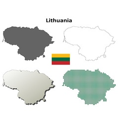 Lithuania outline map set vector