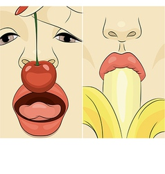 a girls with cherry and banana vector image