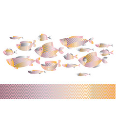 Abstract assorted gold fish pattern vector