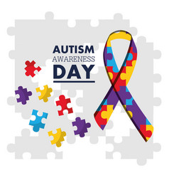 Autism awareness day puzzles shape ribbon vector
