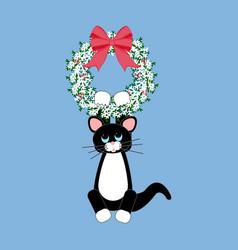Cat in christmas wreath vector