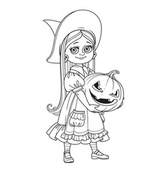 cute girl in witch costume holding a large pumpkin vector image vector image