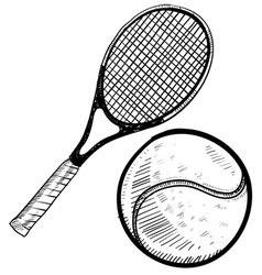 doodle tennis vector image