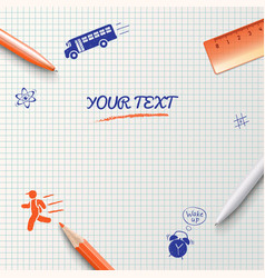 Education background School stationery items vector image vector image