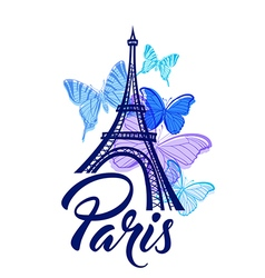 Eiffel Tower and blue butterflies vector image