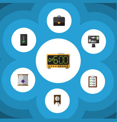 Flat icon life set of bureau cellphone briefcase vector