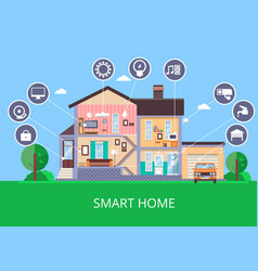 Flat smart home in cut view vector