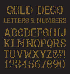 golden font in art deco style vintage alphabet vector image