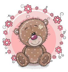 greeting card bear with flowers vector image vector image