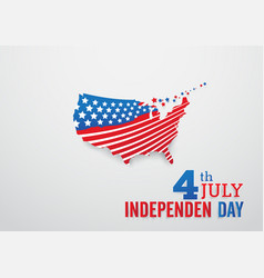Happy independence day with america map and stars vector