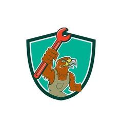 Hawk mechanic pipe spanner crest cartoon vector